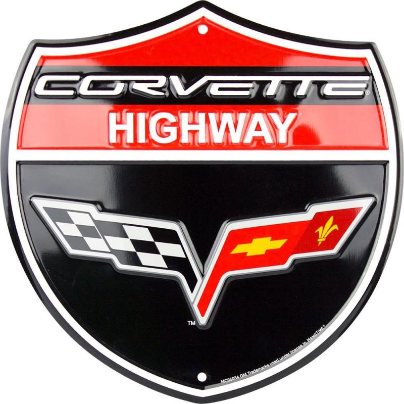 Plechová cedule Corvette Highway 30cm x 30 cm