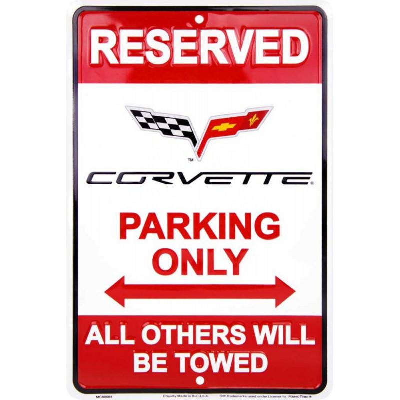 Plechová cedule Corvette Parking 20cm x 30cm