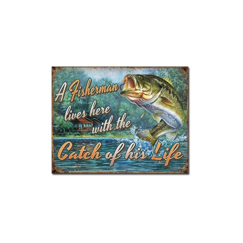 Plechová cedule Fishermans Catch 32 cm x 40 cm