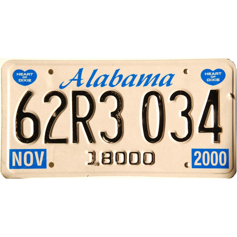 Americká SPZ Alabama Blue Heart