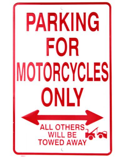 Plechová cedule Motorcycles Parking Only 20 cm x 30 cm