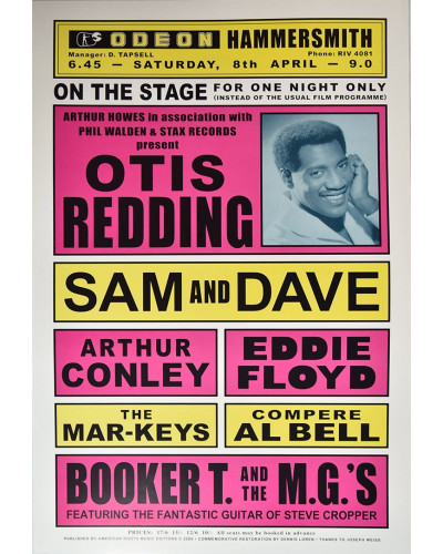 Koncertní plakát Otis Redding, The Odeon 1967