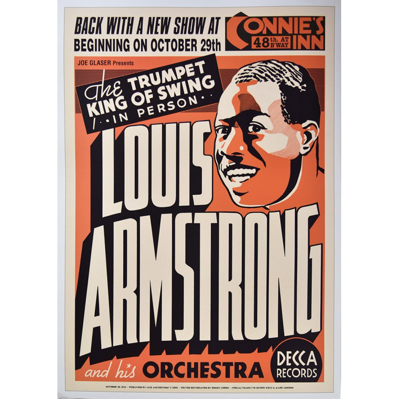 Koncertní plakát Louis Armstrong, Connies Inn, Harlem, NYC,1935