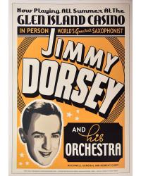 Koncertní plakát Jimmy Dorsey, Glen Island Casino, NY, 1936