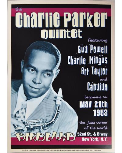 Koncertní plakát Charlie Parker Quintet, Birdland in NYC,1953