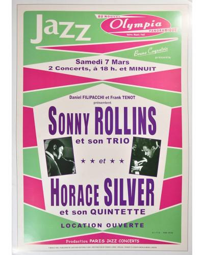 Koncertní plakát Sonny Rolins + H.Silver, 1964
