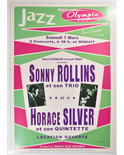 Koncertní plakát Sonny Rolins + H.Silver, Paris 1964