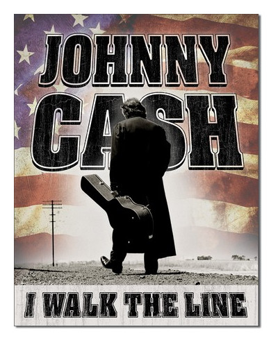 Plechová cedule Johnny Cash -  Walk the Line 32cm x 40cm