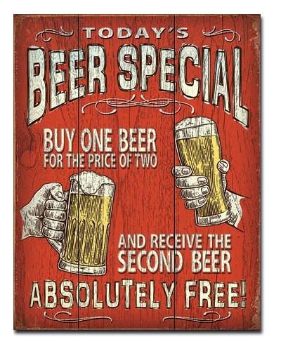 Plechová cedule Todays Beer Special 40 cm x 32 cm
