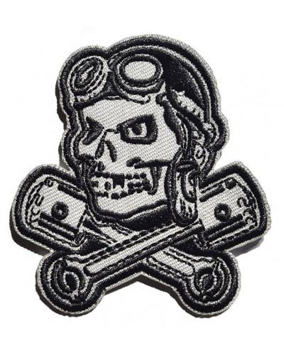Moto nášivka Rockabilly Lebka s písty 4 cm x 7,5 cm