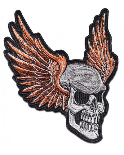 Moto nášivka Lebka s křídlama 10cm x 12cm