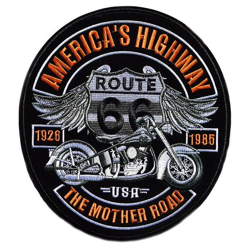 Moto nášivka Americas Highway Route 66 XXL na záda 25 cm x 23 cm
