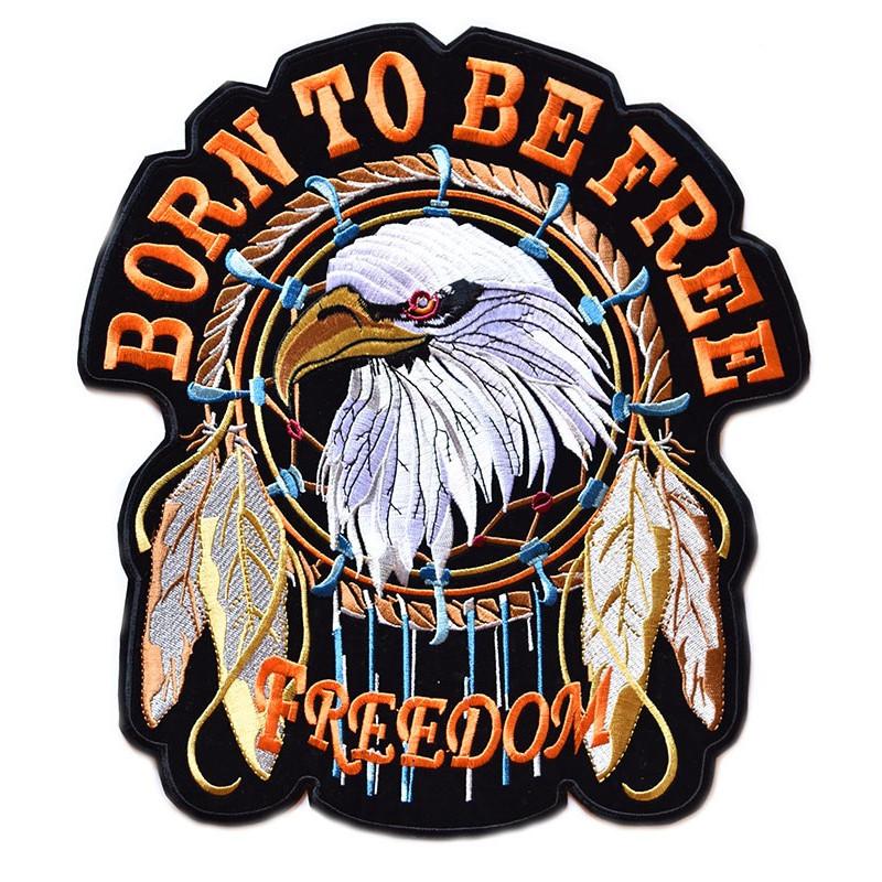 Moto nášivka Born to be Free XXL na záda 27 cm x 30 cm