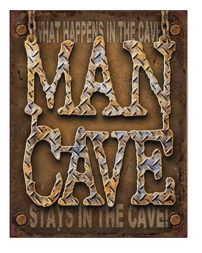 Plechová cedule Man Cave - Diamond Plate 40 cm x 32 cm