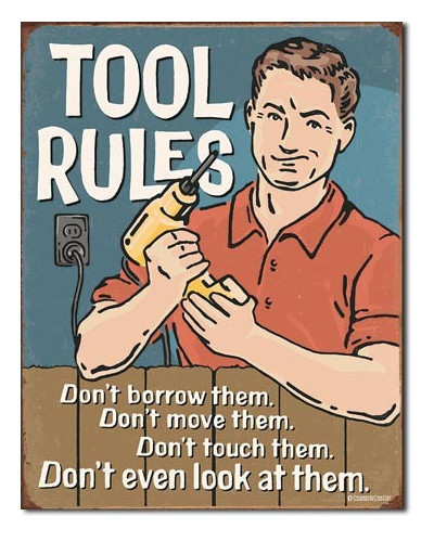 Plechová cedule Tool Rules 40 cm x 32 cm