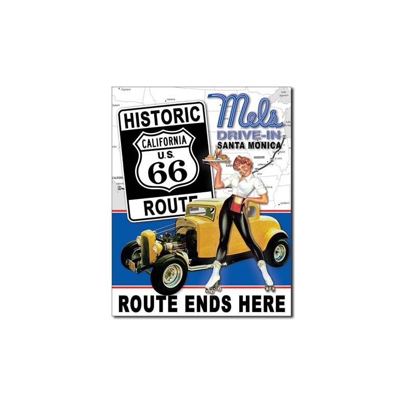 Plechová cedule Mels Diner - Route 66 40 cm x 32 cm