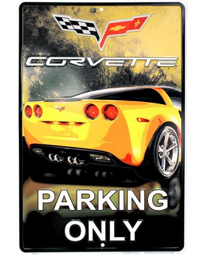 Plechová cedule  Corvette Yelow Parking 30cm x 45 cm