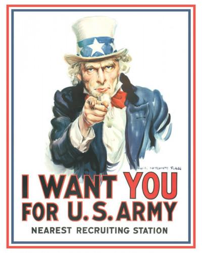 Plechová cedule Uncle Sam I Want You 40 cm x 32 cm