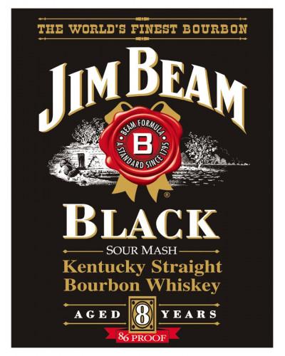 Plechová cedule Jim Beam - Black label 32 cm x 40 cm