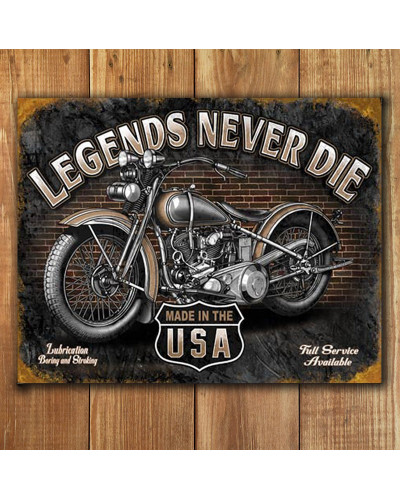 Plechová cedule Legends Never Die 40 cm x 32 cm p