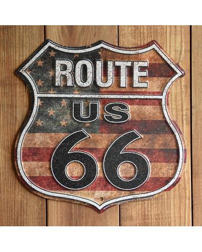 Plechová cedule Route 66 shield US Flag 30cm x 30 cm,