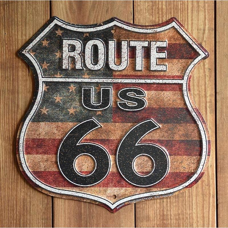 Plechová cedule Route 66 shield US Flag p