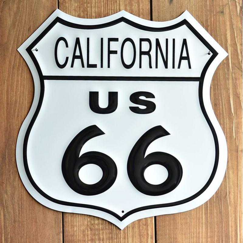 Plechová cedule Route 66 California Shield 27 cm x 27 cm p