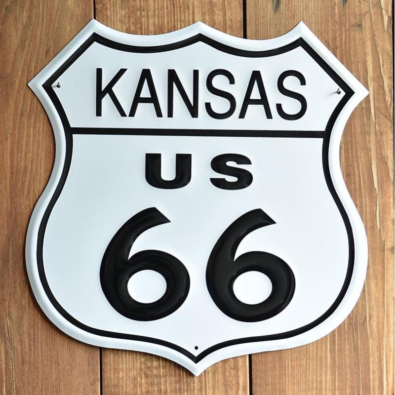 Plechová cedule Route 66 Kansas Shield 27 cm x 27 cm p