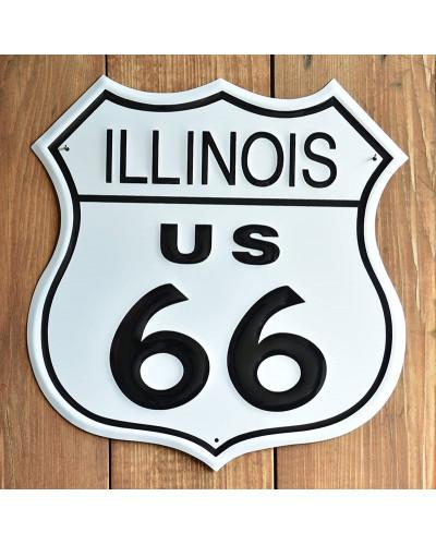 Plechová cedule Route 66 Illinois Shield 27 cm x 27 cm p