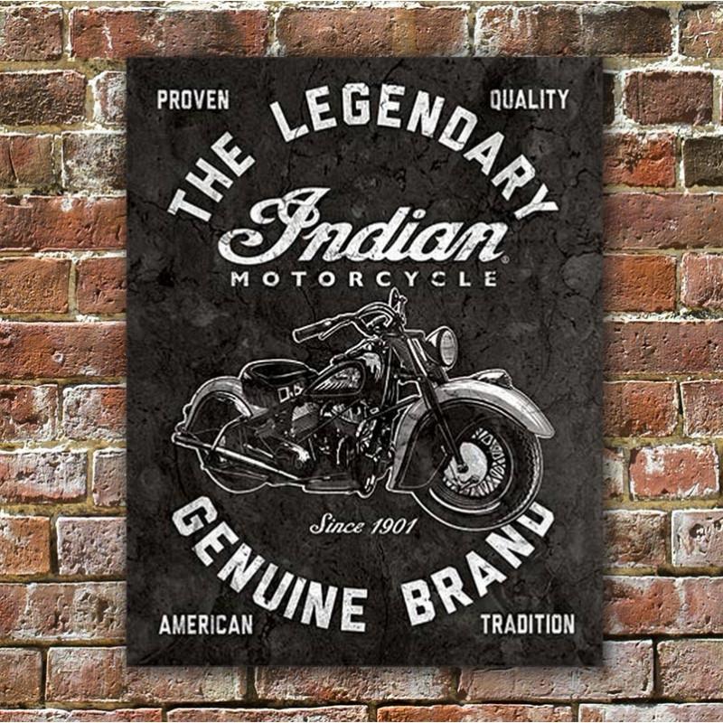 Plechová cedule Indian Motorcycles - Legendary 40 cm x 32 cm w
