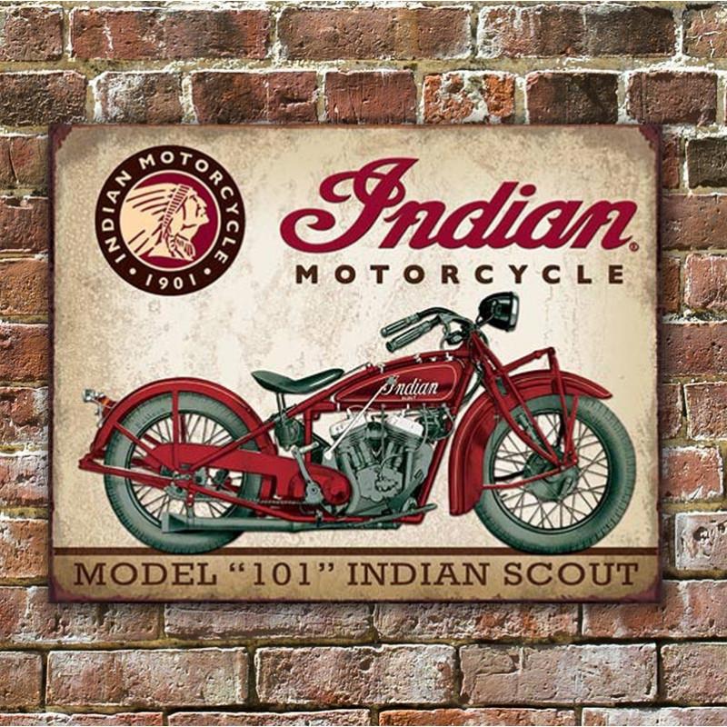 Plechová cedule Indian Scout 40 cm x 32 cm w