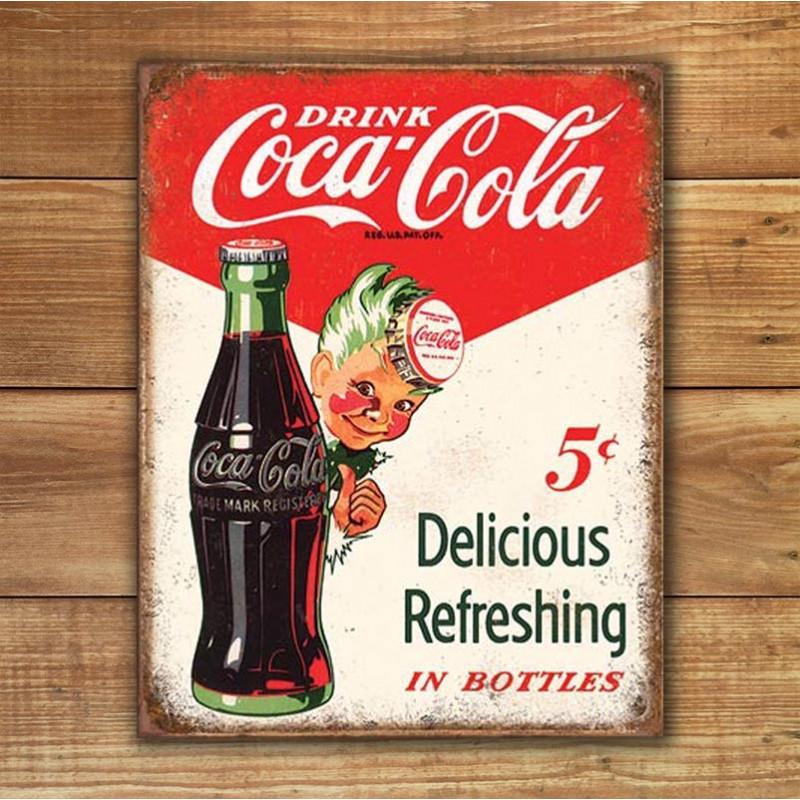Plechová cedule Coca Cola - Sprite Boy 5 Cents 32cm x 40 cm w