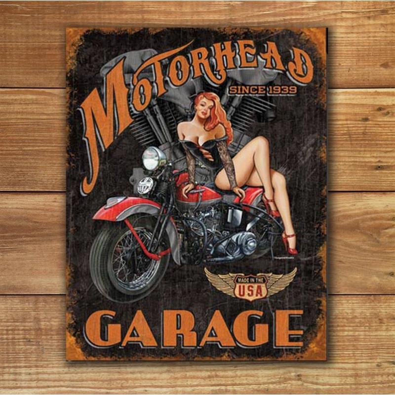 Plechová cedule Legends - Motorhead Garage 40 cm x 32 cm w