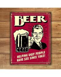 Plechová cedule Beer - Ugly People 40 cm x 32 cm w