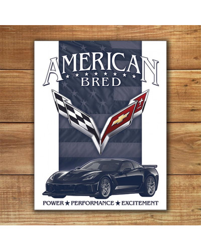 Plechová cedule Corvette - American Bred 40 cm x 32 cm w