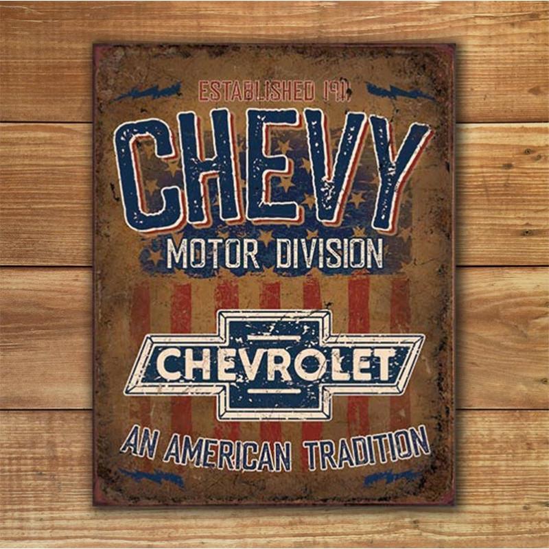 Plechová cedule Chevy - American Tradition 40 cm x 32 cm w