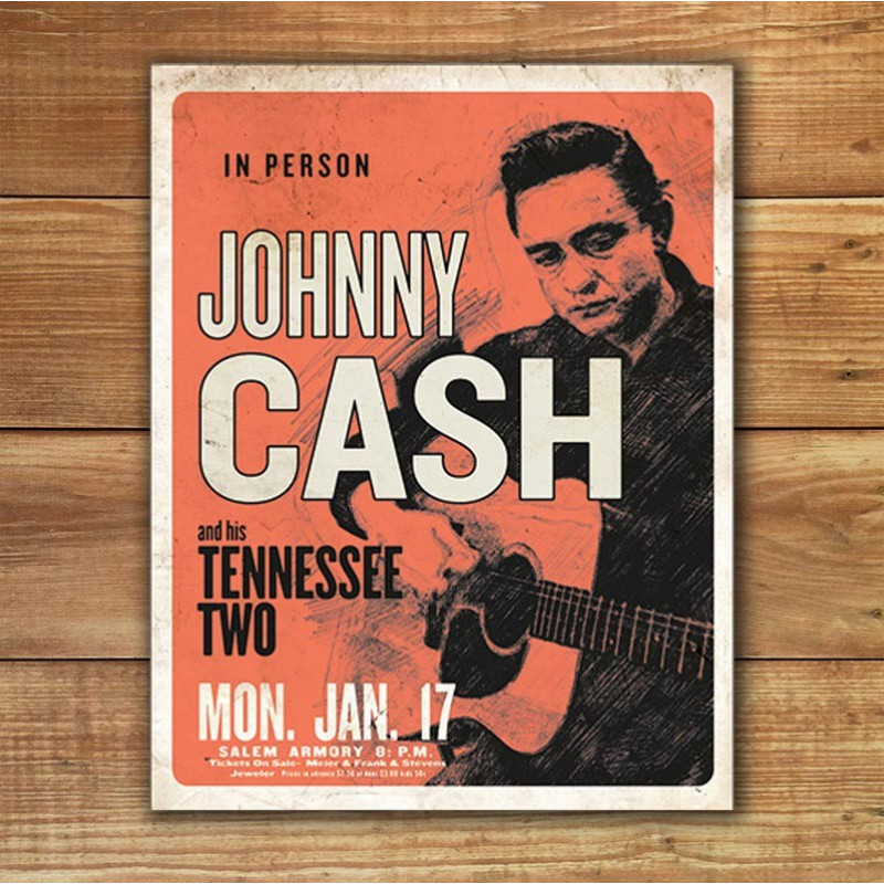 Plechová cedule Johnny Cash and his Tennessee Two 32cm x 40cm w