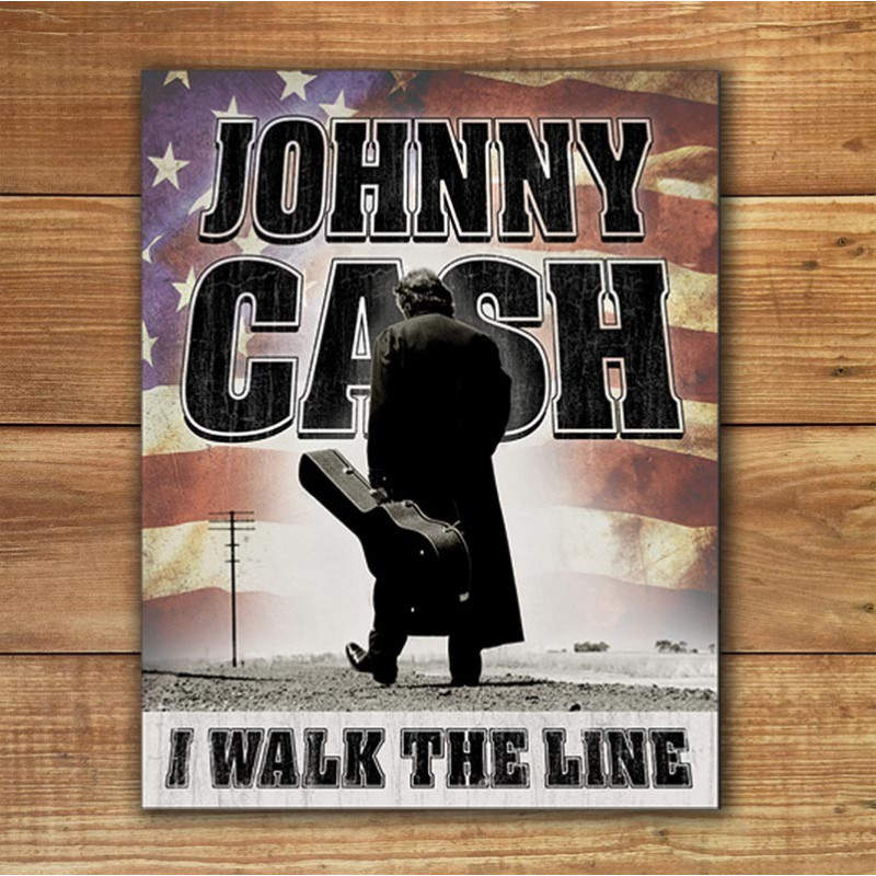 Plechová cedule Johnny Cash - Walk the Line 32cm x 40cm w