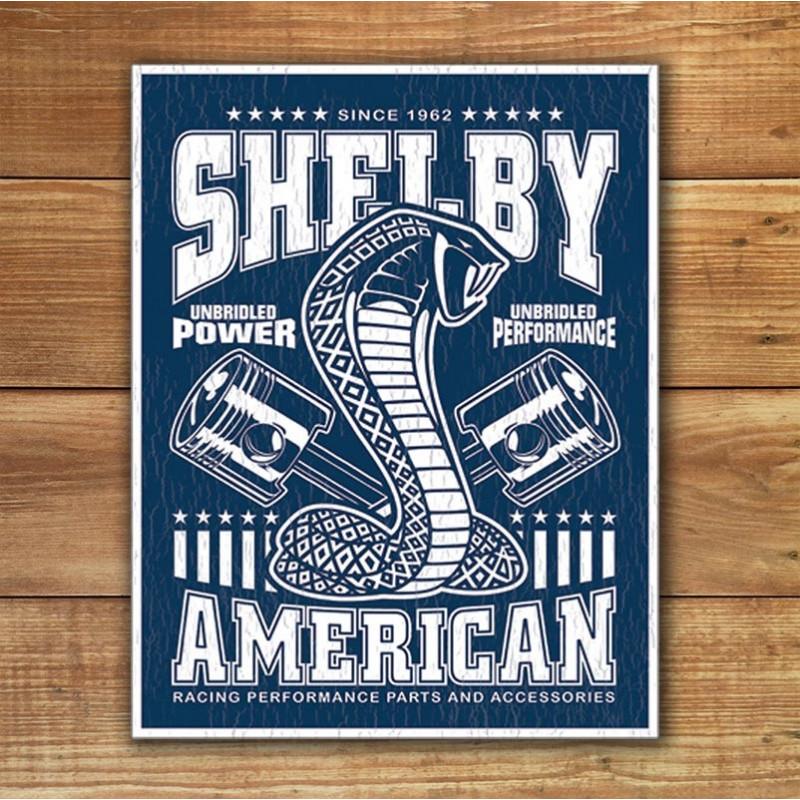 Plechová cedule Shelby - Unbridled 40 cm x 32 cm w