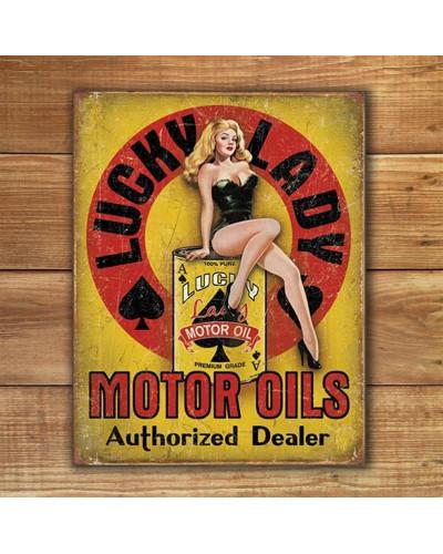 Plechová cedule Lucky Lady Motor Oil 40 cm x 32 cm