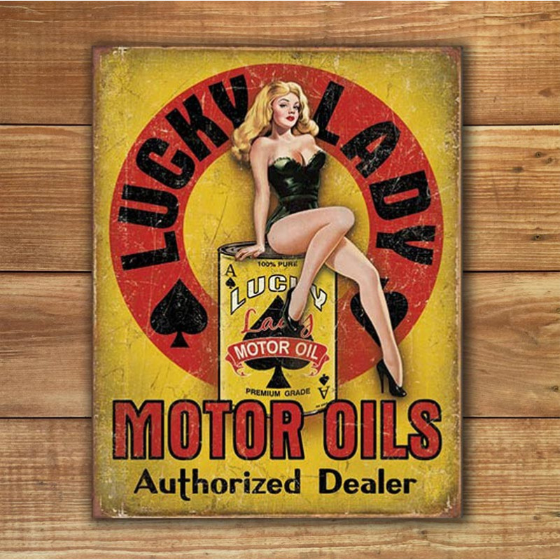 Plechová cedule Lucky Lady Motor Oil 40 cm x 32 cm w