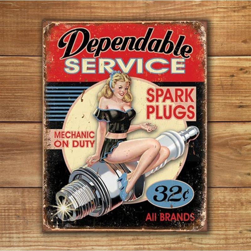 Plechová cedule Dependable Service 40 cm x 32 cm w