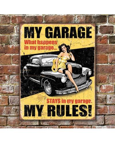 Plechová cedule My Garage My Rules 40 cm x 32 cm