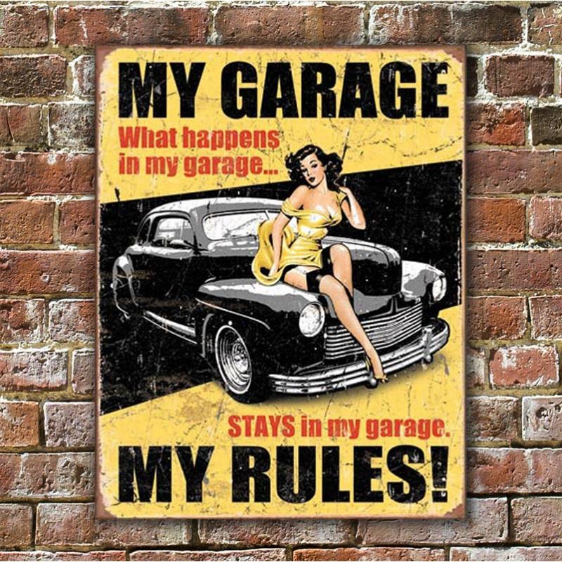 Plechová cedule My Garage My Rules 40 cm x 32 cm w