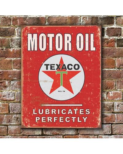 Plechová cedule Texaco - Lubricates Perfectly 32 cm x 40 cm