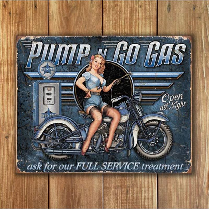 Plechová cedule Pump n Go Gas 40 cm x 32 cm w