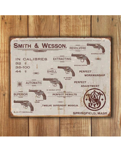 Plechová cedule S&W - Revolvers 40 cm x 32 cm