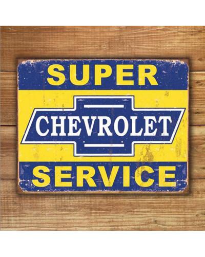 Plechová cedule Super Chevy Service 40 cm x 32 cm w