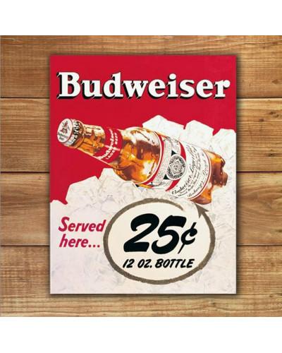 Plechová cedule Budweiser - 25 Cent 40 cm x 32 cm w