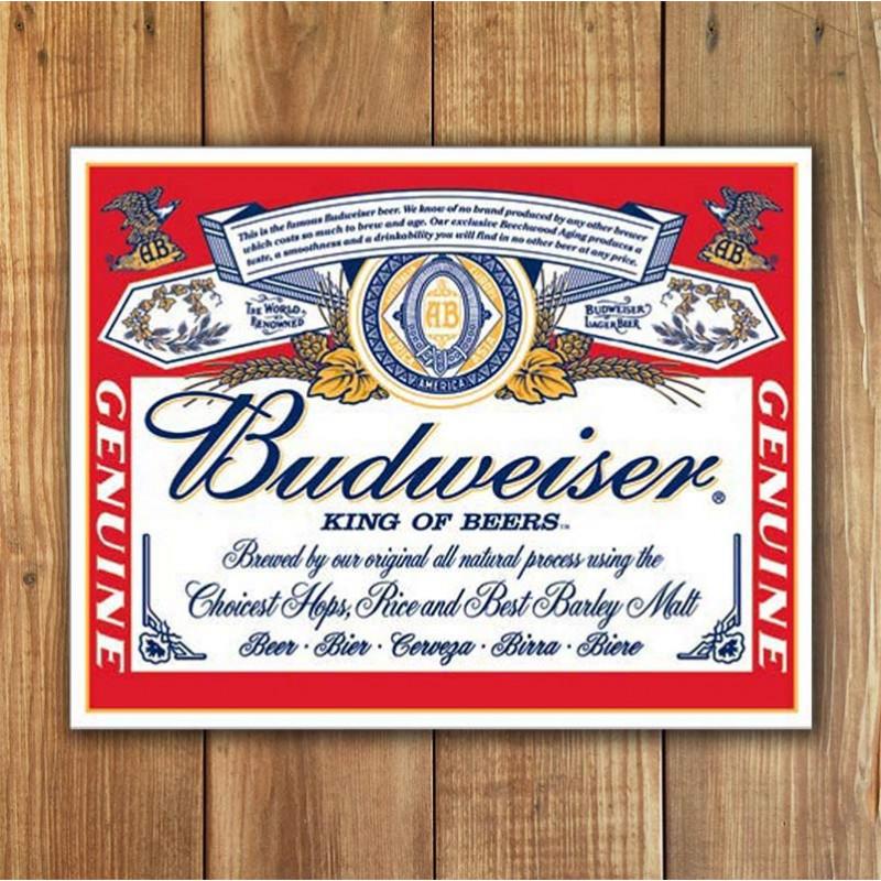Plechová cedule Budweiser - Label 40 cm x 32 cm w